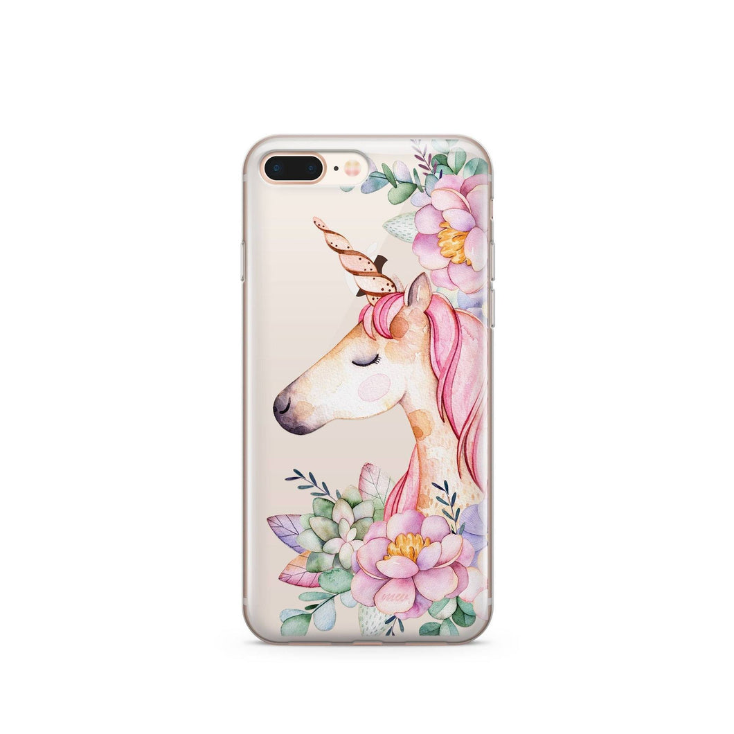 Unicorn & Flowers Clear Phone coque for
