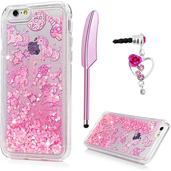 Unicorn glitter liquid phone coque