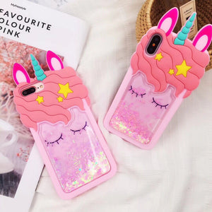 iphone X Unicorn coque 3D pink liquid