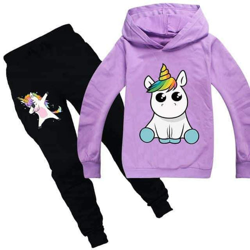 ensemble licorne, Ensemble licorne survêtement violet kawaii - frdujiaoshou1