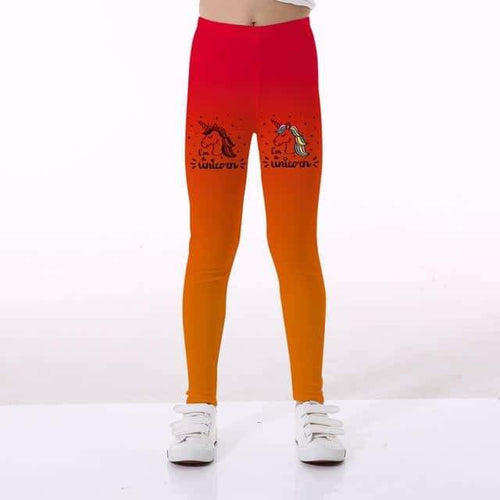 legging licorne aliexpress, Leggings licorne <br> fille orange dégrader - frdujiaoshou1