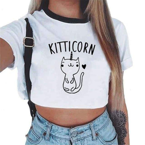 Crop top licorne <br> chat-licorne - frdujiaoshou1