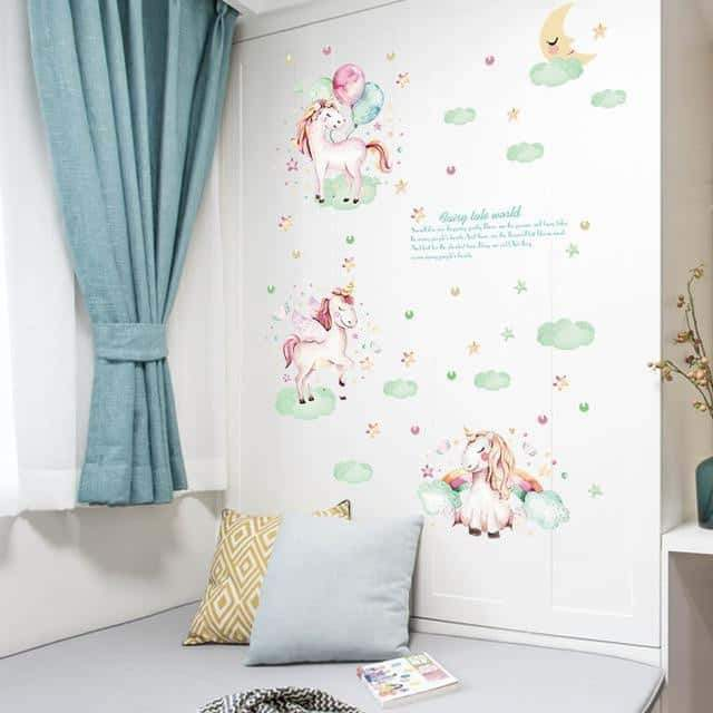 stickers licorne personnalisable, Stickers licorne <br> murale complet - frdujiaoshou1