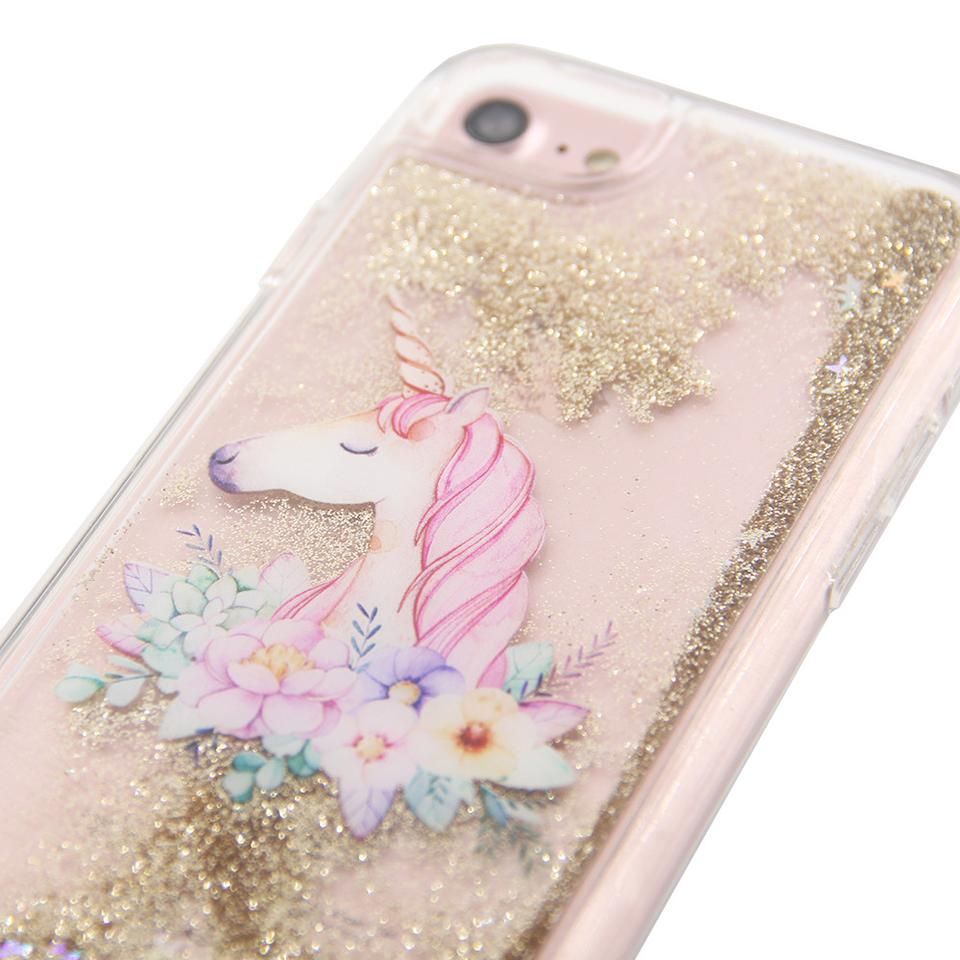 uCOLOR Gold Glitter Floral Unicorn coque