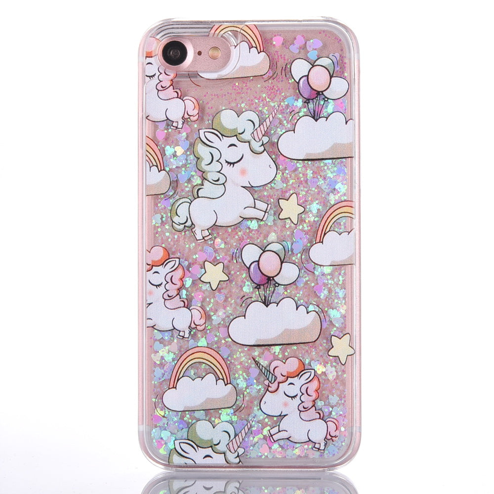 water and glitter unicorn phone coque