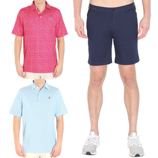 Darty Golf Polo - Blue Stripes Golf Polo - Navy Shorts