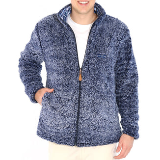 Navy Sherpa - Cozy Blue Plaid