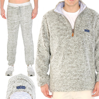 Reversible Grey Sherpa / Wave 1/4 Zip Jacket - Pants - Beanie