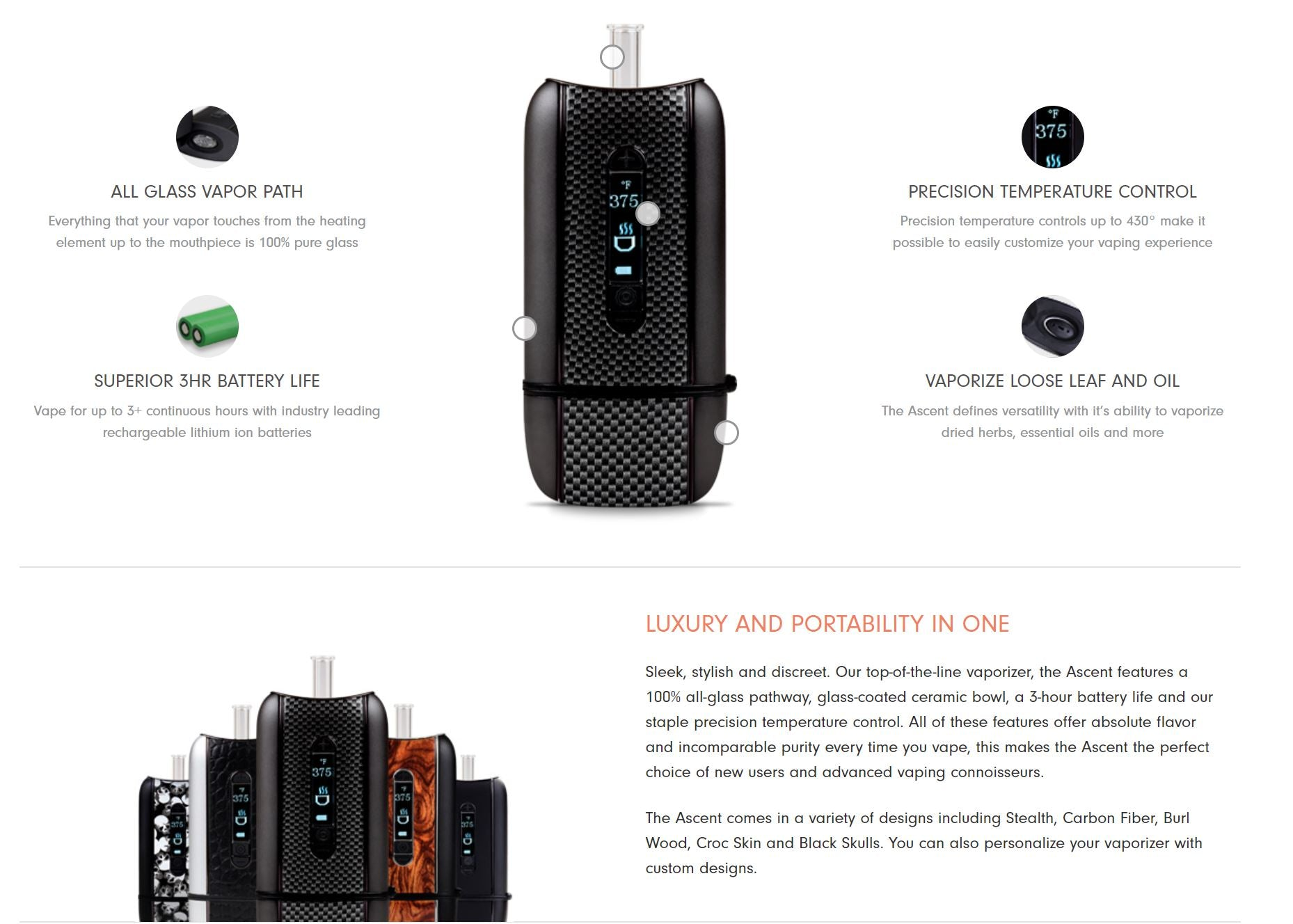 DaVinci Ascent 2-in-1 Vaporizer Kit vaporize both dry herb and concentrates (waxy oils, but not liquids)