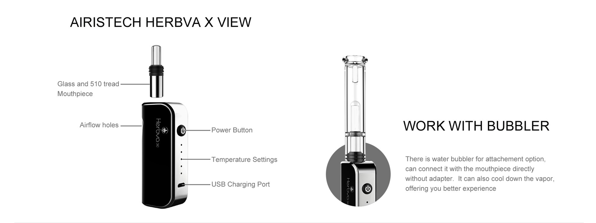 Airistech Herbva X 3-in-1 Vaporizer Glass mouthpiece, more healthier; universal to all bubblers without extra adapter.