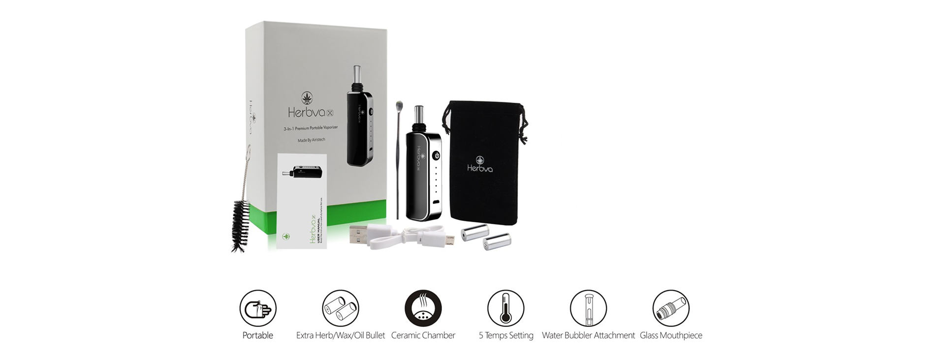 "Airistech Herbva X 3-in-1 Vaporizer Herbva X utilizes an interchangeable ""bullet"" technology, where each bullet can be pre-loaded with your favorite choice of herb, wax and oil"