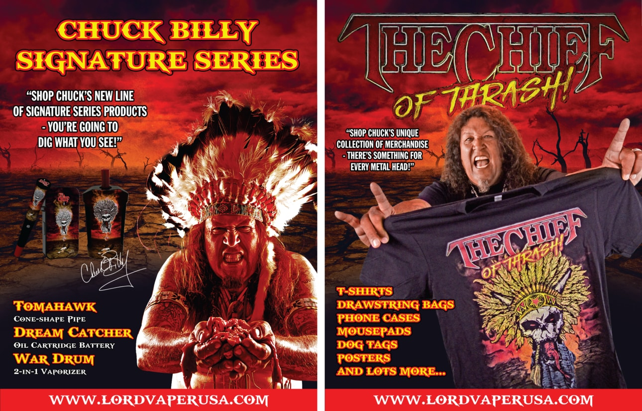 Chuck Billy Testament The Chief products War Drum Tomahawk Dream Catcher The Chief of Thrash! collection of merchandise