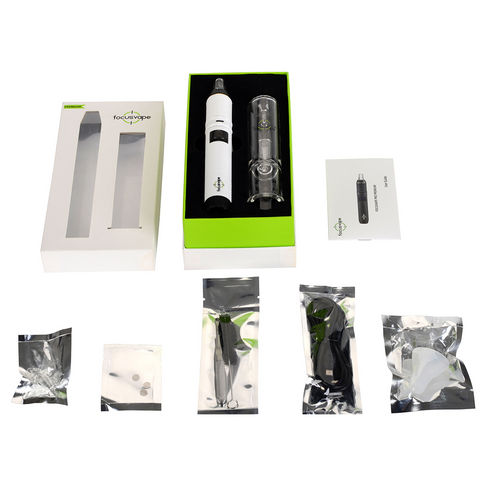 Focusvape Pro Premium Herb Bubbler Kit White made out of high-quality metals, Pyrex glass and ceramic chamber, so it's nice to handle and operate