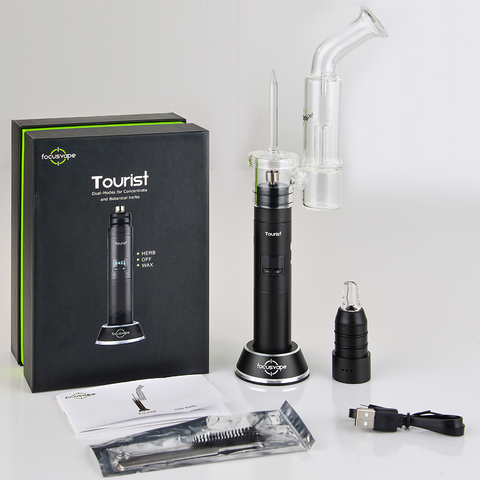 Focusvape Tourist 2-in-1 Herb Wax Concentrate Bubbler Full Kit Black Focusvape Tourist is the premium powerhouse in portable 2-in-1 vaporizers. Featuring a completely interchangeable design for dry herb and concentrates.