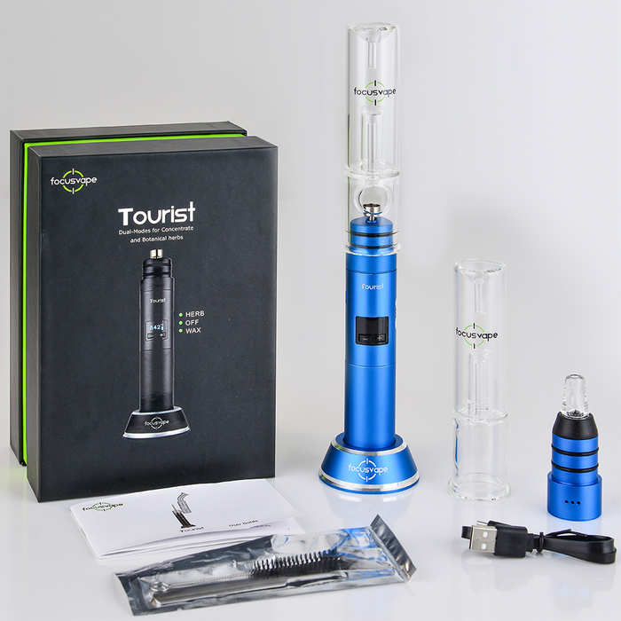 Focusvape Tourist 2-in-1 Herb Wax Concentrate Bubbler Full Kit Blue