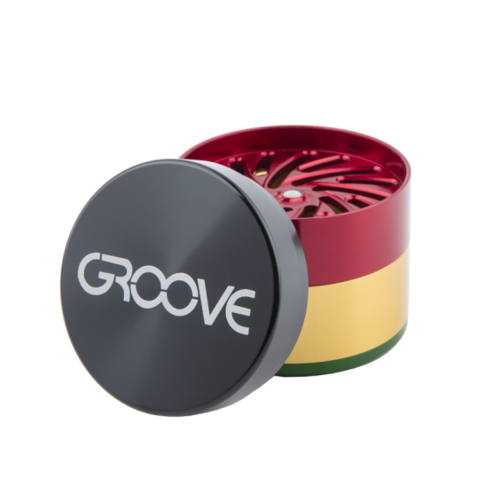 Groove 4-piece Grinder Kief Rasta Groove 4-piece CNC Grinder/Sifter requires minimal herb preparation-delivers a light, feathery end-grind, separating unwanted material-optimal purity.