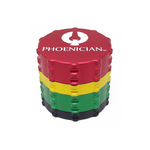 "Phoenician 4-piece Grinder Kief Small Rasta The Phoenician 4-piece grinders-specifically made for medical purposes-come sterilized in pouch. Each grinder features the patent pending ""Fast Lock System."""