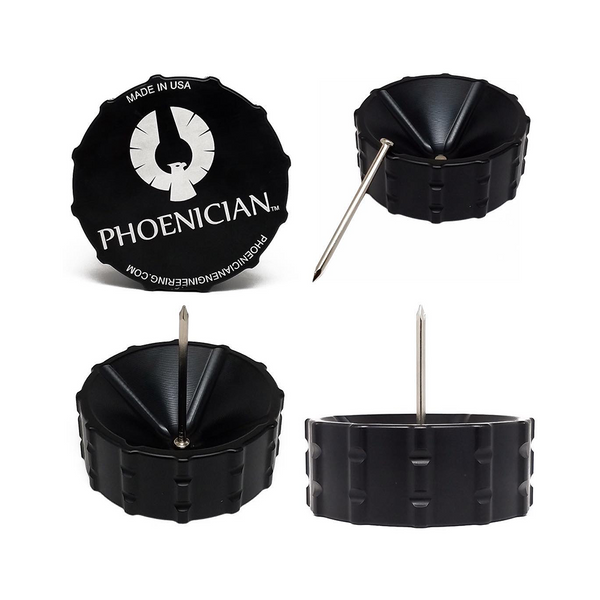 Phoenician Ashtray Made-in-USA Phoenician ashtray has a modern cylindrical design with four generously sized, internally-angled holding slots perfect for cigarettes, pre-rolls and cigars