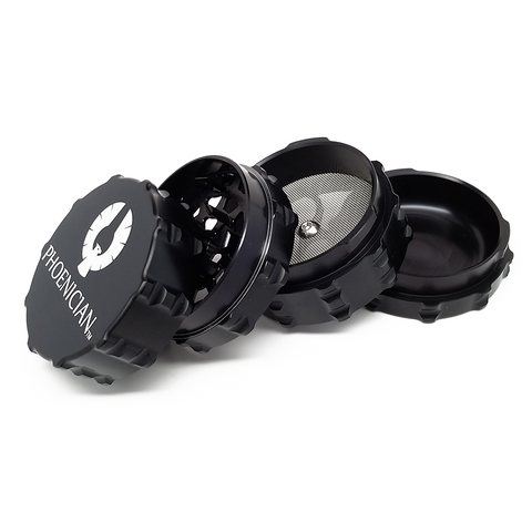 "Phoenician 4-piece Grinder Kief Medium Black The Phoenician 4-piece grinders-specifically made for medical purposes-come sterilized in pouch. Each grinder features the patent pending ""Fast Lock System."""