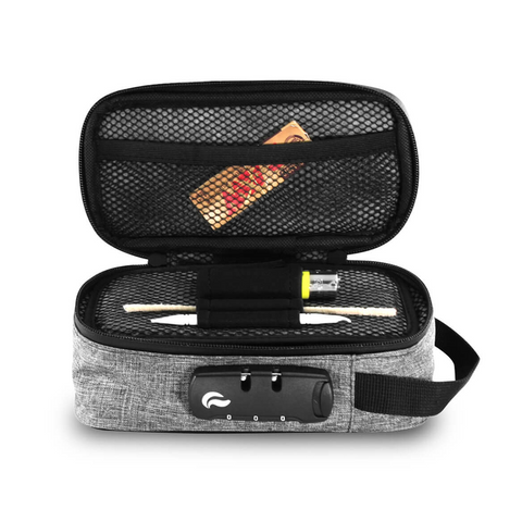 Skunk Sidekick smell-proof locking carry bag grey open view