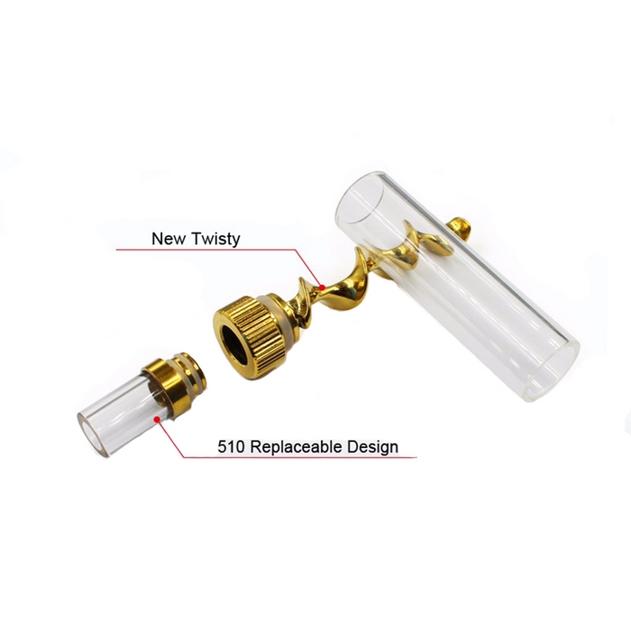 V12 Mini Twisty Blunt Pipe Herb Gold parts