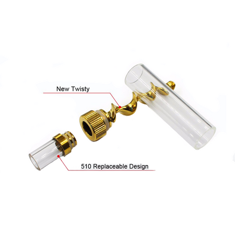 V12 Mini Twisty Blunt Bubbler Pipe Herb Gold chambers