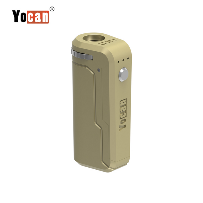 Yocan UNI Box Mod Universal Portable Vaporizer THC Oil Cartridges CBD Oil Cartridges Vape Pen Battery Yocan UNI 510-thread box battery offers ultimate protection and discretion for your oil cartridges Matte Gold