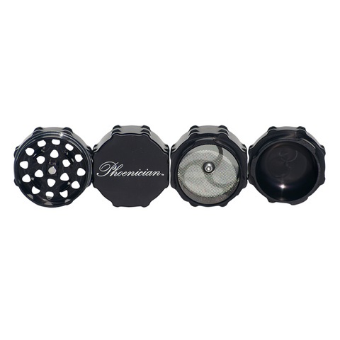 "Phoenician 4-piece Grinder Kief Black Each grinder features the patent pending ""Fast Lock System."""