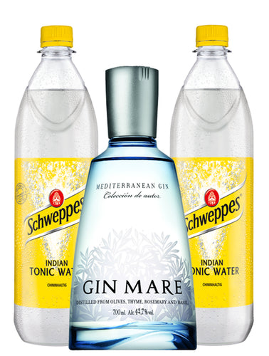 finespirits-Gin Mare Tonic Paket - 1 Flasche Gin Mare 0,70l | 2 Flaschen Tonic Water 1l