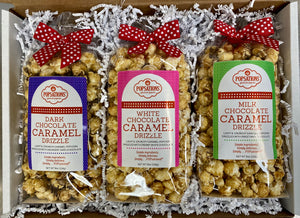 Chocolate Caramel Popcorn Sampler Gift Box