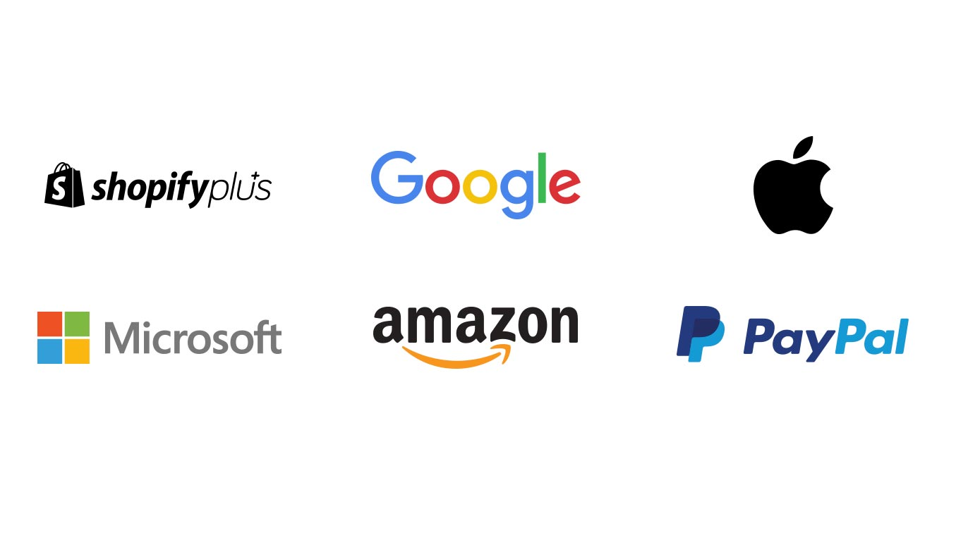 Logos for Shopify Plus, Google, Apple, Microsft, Amazon and Paypal