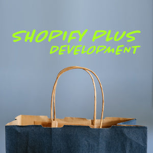 shopping bag with words shopify plus development