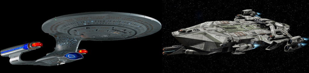 The Galaxy-class Enterprise D from Star Trek  (left) vs. The UEES Stanton from Star Citizen (right), the difference in shape complexity is apparent