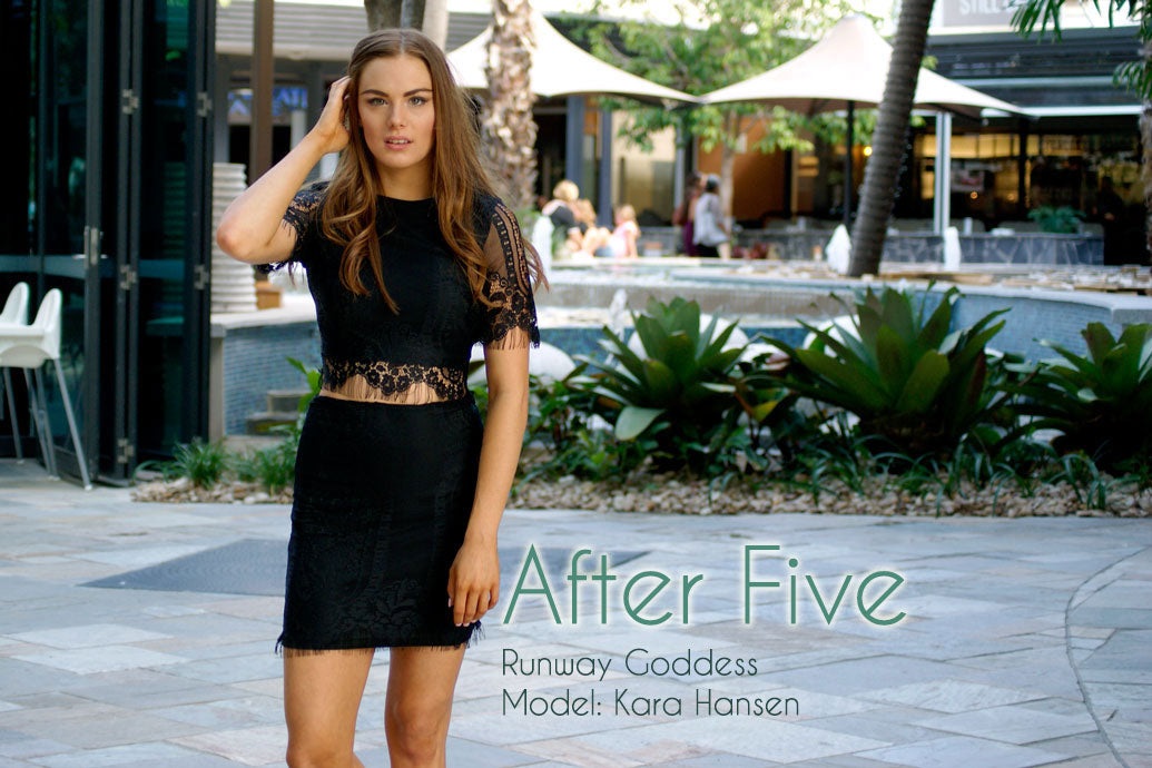 After 5 Cover photo. Model wears Black lace set