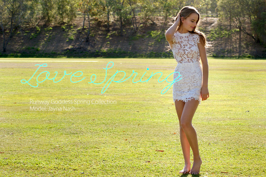 Cover photo, model wearing Sienna Lace Dress in White
