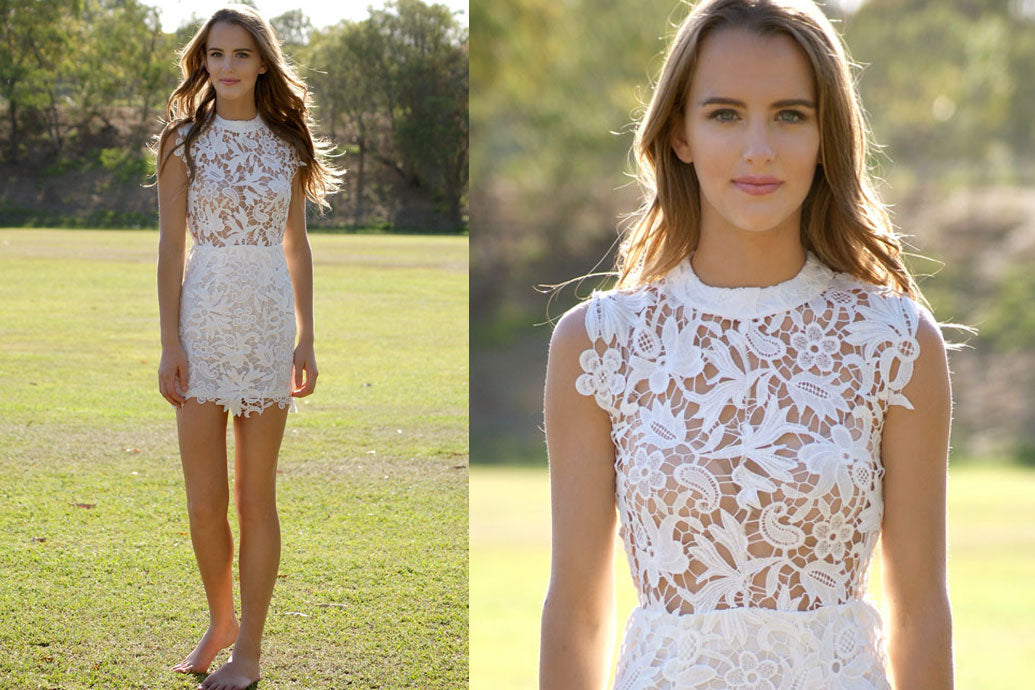 Model wearing Sienna White Lace Dress Close up