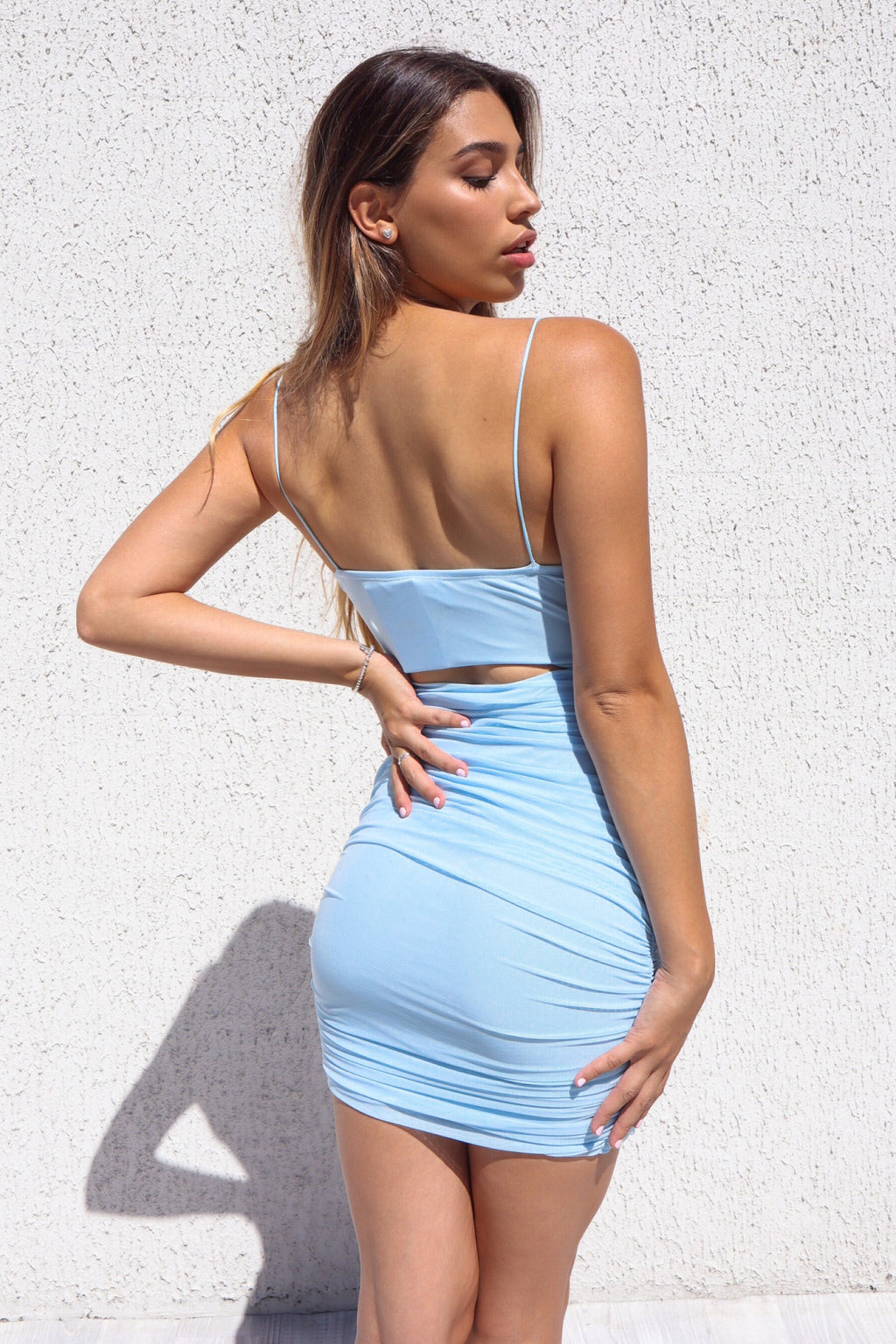 Adley Mesh Dress - Baby Blue