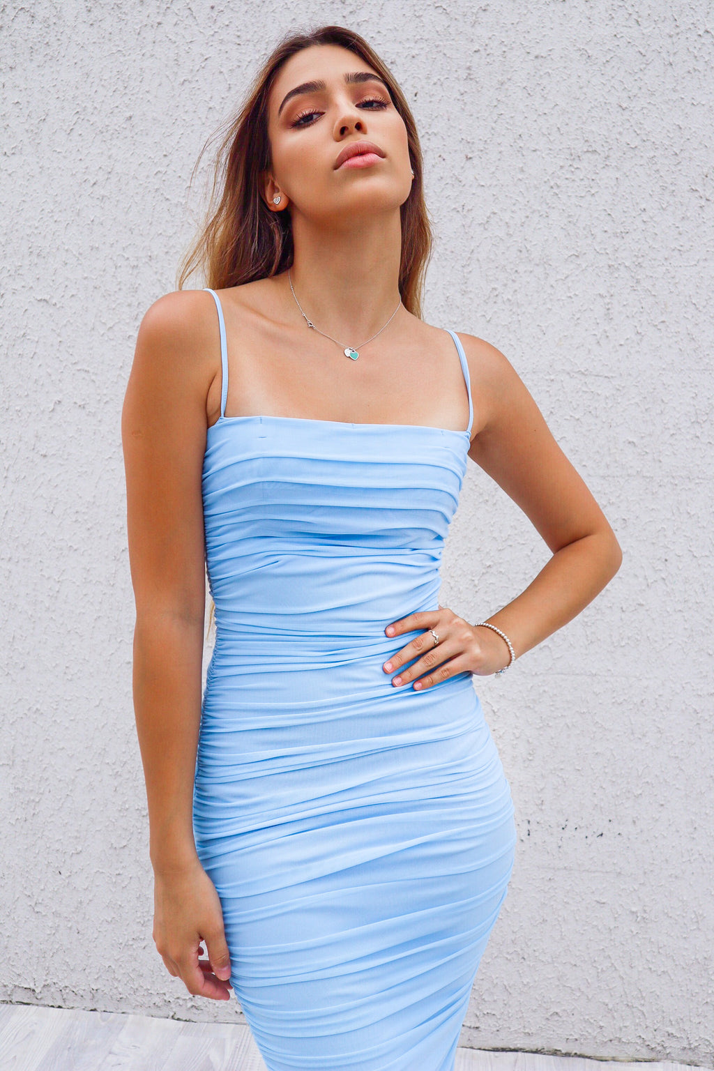 Alexia Bodycon Midi Dress - Baby Blue