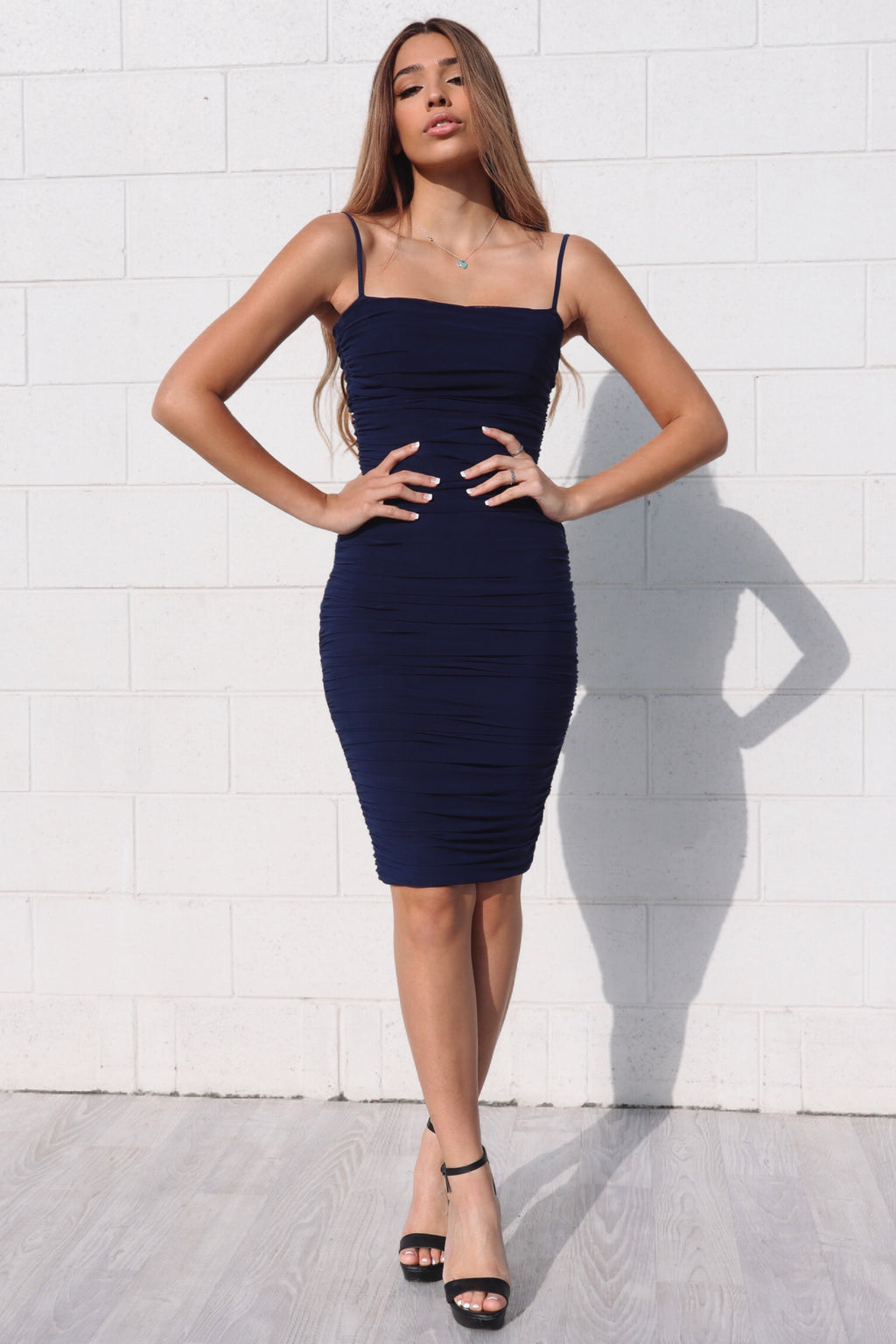 Alexia Bodycon Midi Dress - Navy