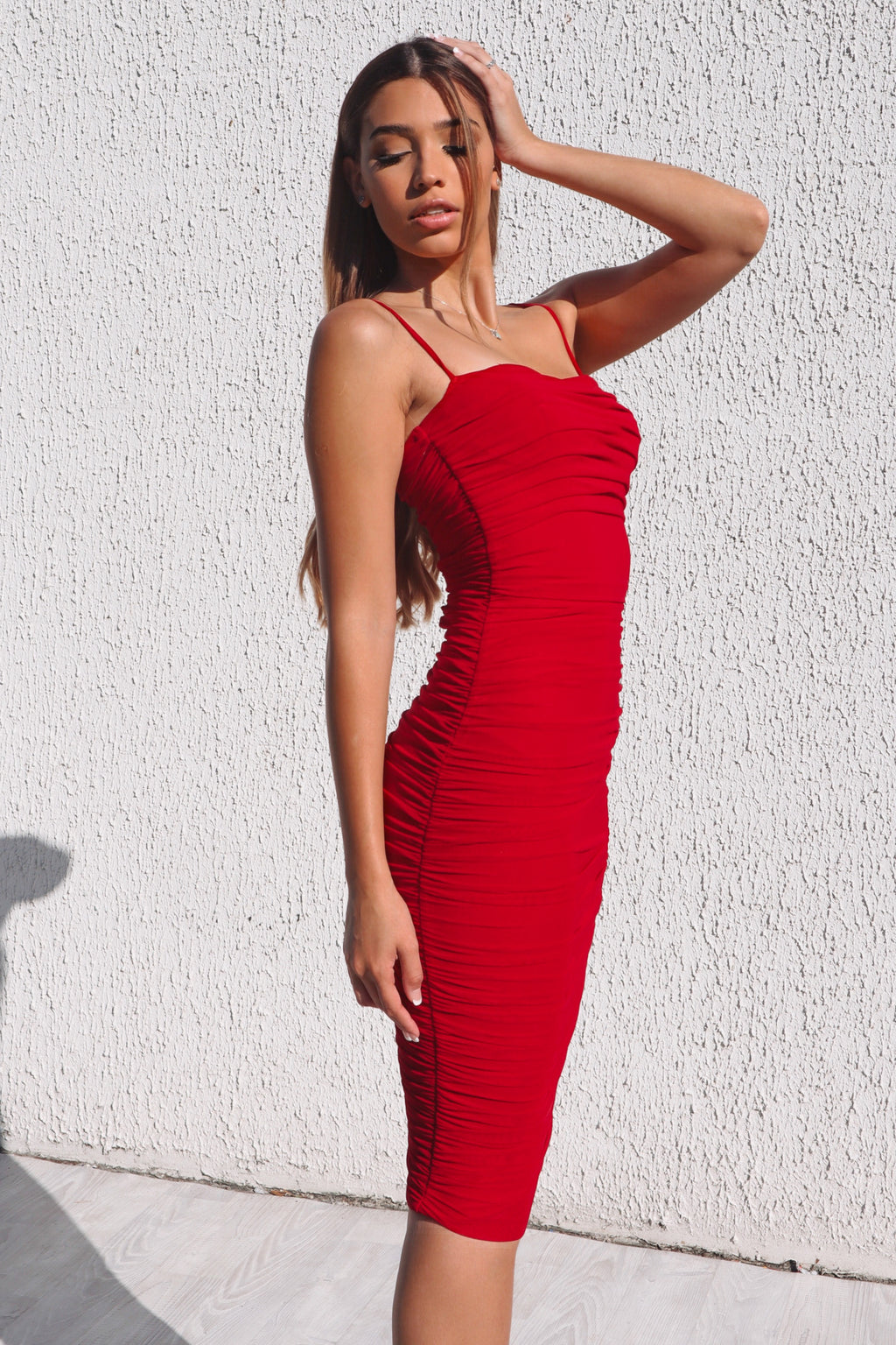 Alexia Bodycon Midi Dress - Cherry