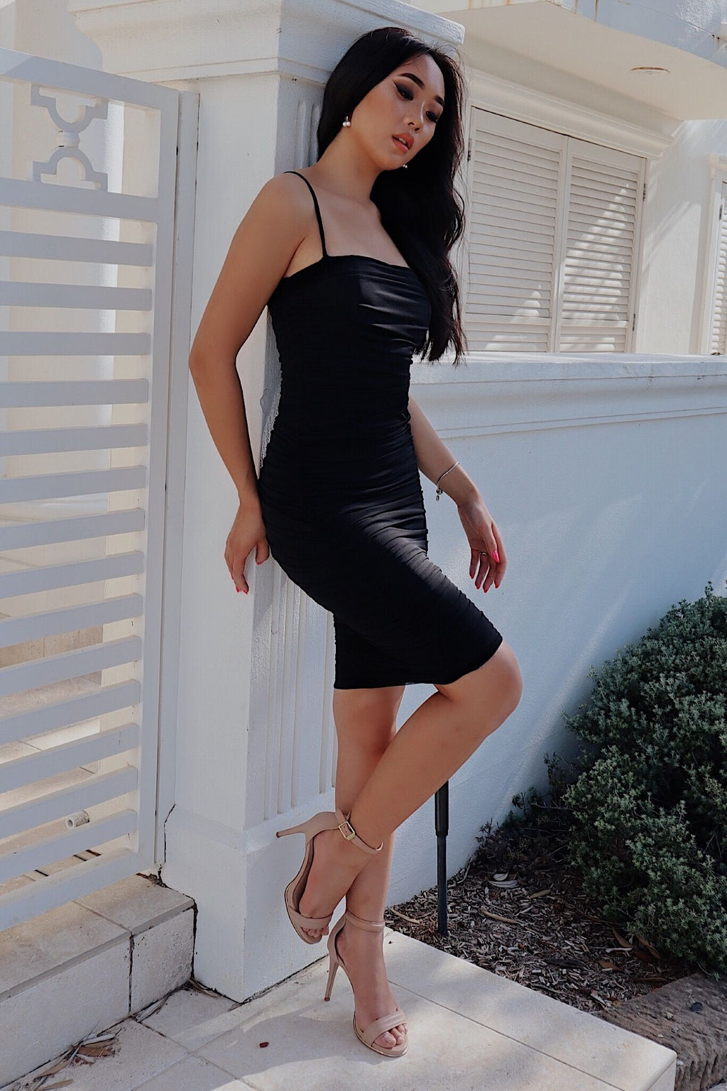Alexia Bodycon Midi Dress - Black - Runway Goddess