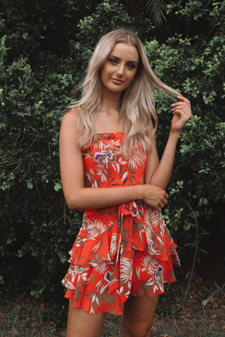 Aloha Red Floral Dress