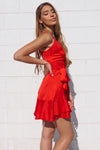 Alyssa Satin Dress - Red