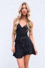 Alyssa Satin Dress - Black