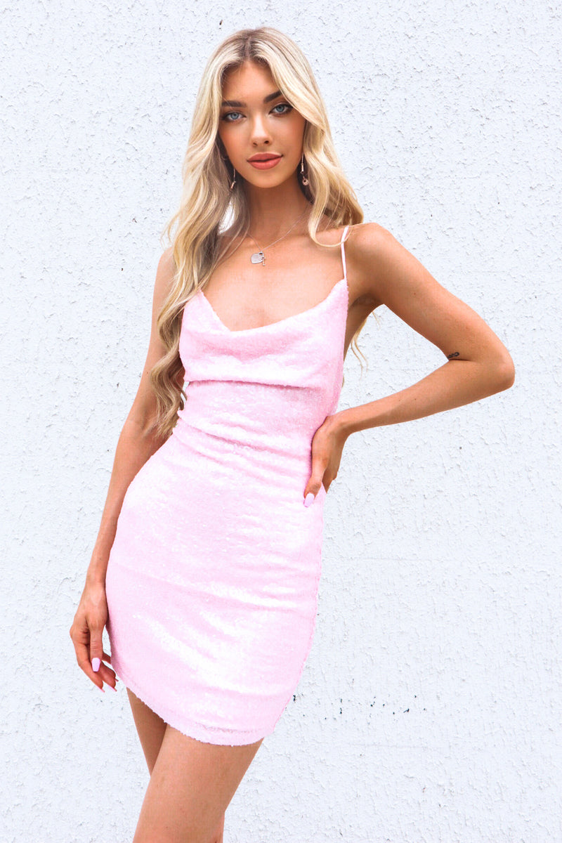 Ambrosia Sequin Dress - Baby Pink