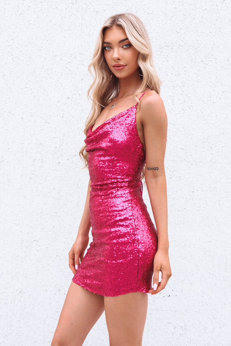 Ambrosia Sequin Dress - Fuchsia
