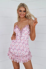 Angelica Floral Dress - Pink - Runway Goddess