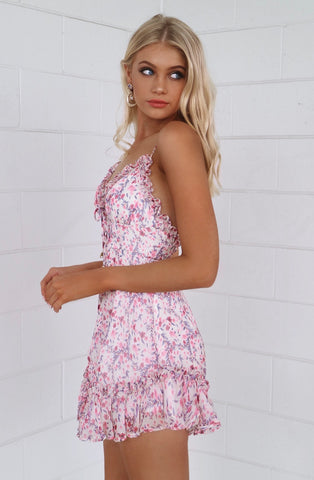 Angelica Pink Floral Dress