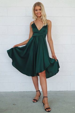 Annabella Emerald Satin Midi Dress