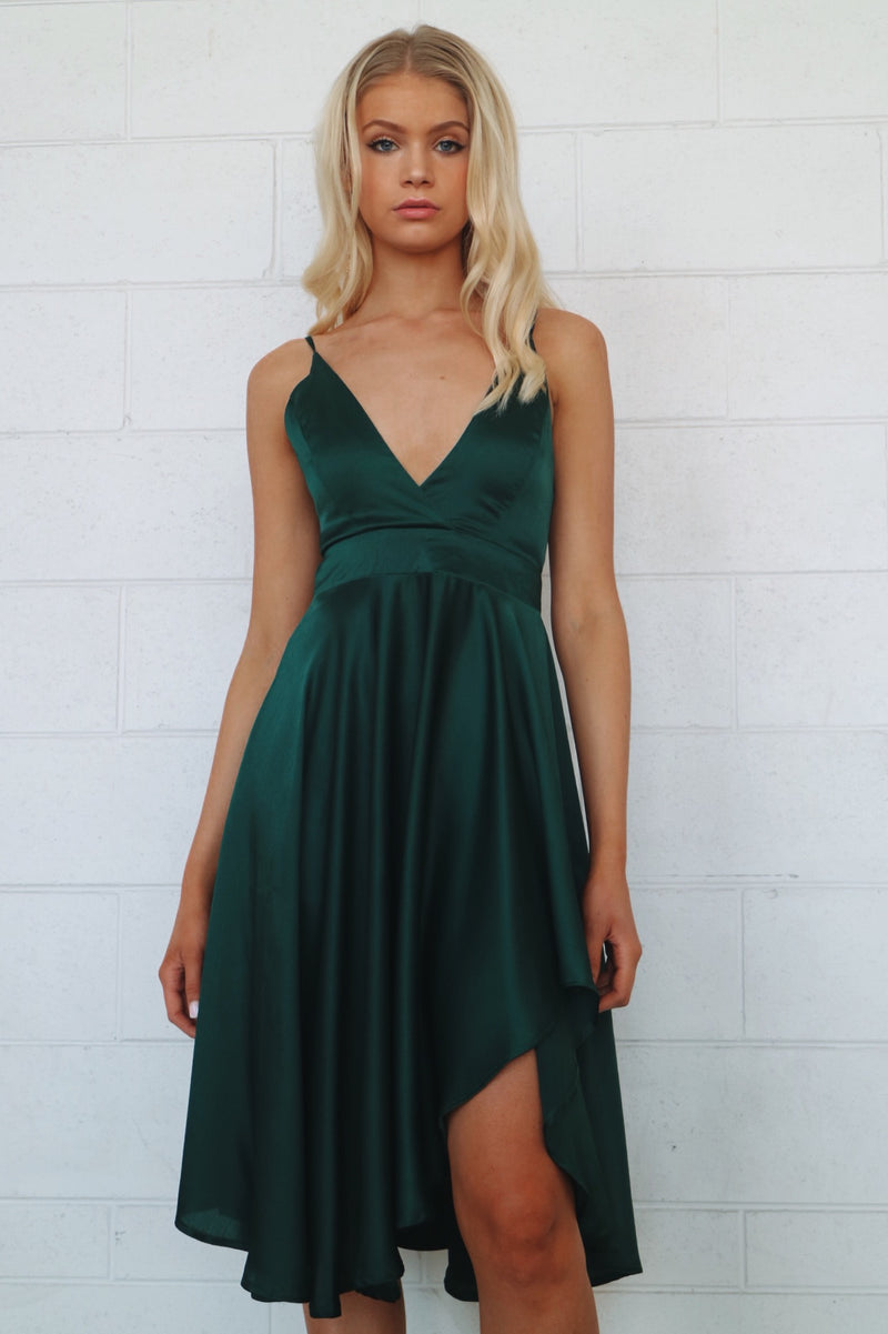 Annabella Satin Midi Dress - Emerald - Runway Goddess